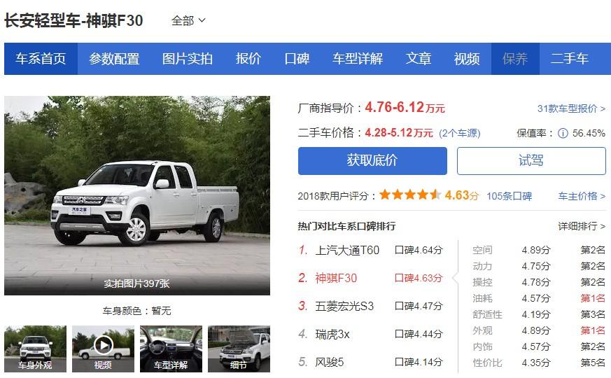 长安神骐F30皮卡价格